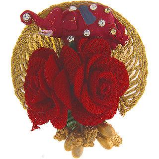 Anuradha Art Red Colour Designer Flower Styled Wonderful Saree/Sari Pin For Women