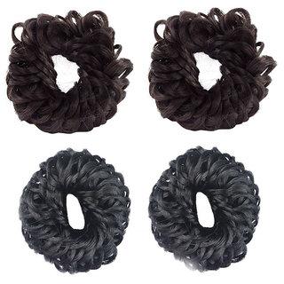 GaDinStylo Set of 4, Brown And Black Hair Juda Band, Hair Accessories Juda, Bun Maker Band, Juda Accessories For Women And Girls (Brown And Black)