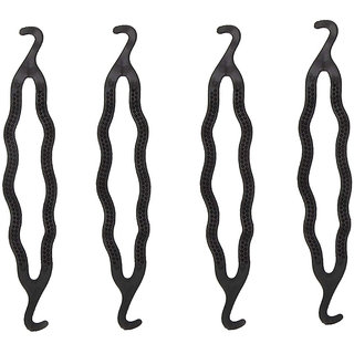 Gadinstylo Pack of 4, Styling Clip Bun Maker Braid Tool Bun (Black) Hair Accessory Set For Women And Girls