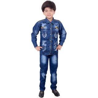 Arshia Fashions Boy's Denim and Cotton Shirt and Pant Set BY193