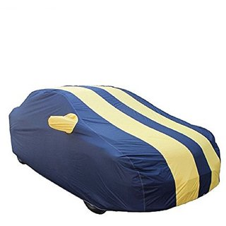 GS- Premium Quality Multi Stitched Waterproof Parachute Blue & Yellow Car Body Cover for Hyundai Santro -(With Side Mirror Pockets)