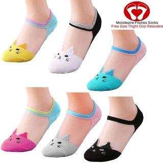 Zeeko  Colorful Kitten Print Ultra Thin Net Sock For Girl (Pack-3)