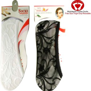 Zeeko  Indoor Cotton Sock Fully Lace Net Sock For Girl Beige,Black  White Color(Pack-3)