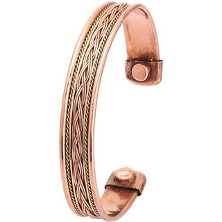 Delhi Bazar Set of 4 Tibetan Copper Bracelets Magnetic India Pattern  Women's Men's Spiritual Yoga Jewelry