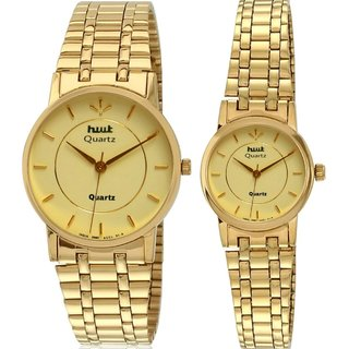 HWT Gold Plated Couple Watches Combo Pack Of 2pcs