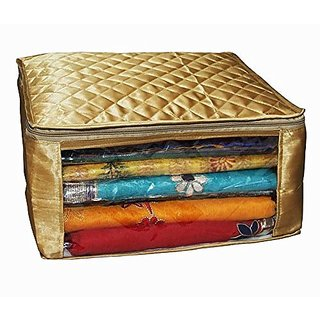 Kuber Industries™ Saree cover in extra large size Golden Satin 2 pcs Combo