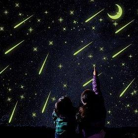 Jaamso Royals 'Radium Moon  Stars' Glow in Dark Wall Sticker (PVC Vinyl 21 cm X 29.7 cm Night Glow Stickers)
