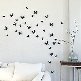 Jaamsoroyals in Gossip Girl 12pcs/pack Black PVC 3D Decorative Butterflies Removable Wall Art Sticker For Home Decor