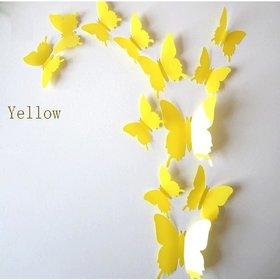 Jaamso Royals 'Yellow 3D Butterflies' Wall Sticker 1 Combo of 12 Piece (PVC Vinyl 13 cm x 15 cm  3D Stickers )