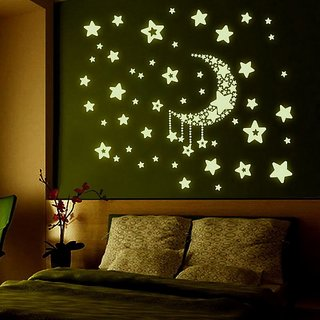 Jaamso Royals 'Radium Moon  Falling Stars' Glow in Dark Wall Sticker (PVC Vinyl 21 cm X 29.7 cm Night Glow Stickers)