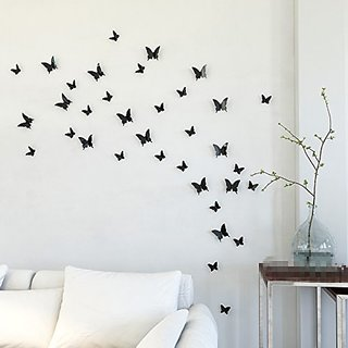Jaamsoroyals in Gossip Girl 12pcs/pack Black PVC 3D Decorative Butterflies Removable Wall Art Sticker For Home Decor