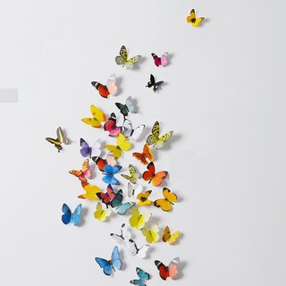 Jaamso Royals 'Multicolor 3D Butterflies' Wall Sticker 1 Combo of 19 Piece (PVC Vinyl 21 cm x 29.7 cm  3D Stickers )