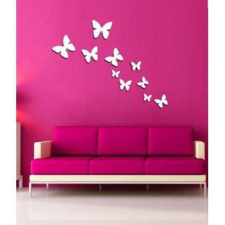 Jaamsoroyals Wall Decor White Butterflies Acrylic 3d Wall Art Sticker 10 Pcs