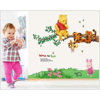 Jaamso Royals ' Vigny Bear Swing Tigger kindergarten children room' Wall Sticker (PVC Vinyl 70 cm X 50 cm Decorative Stickers)