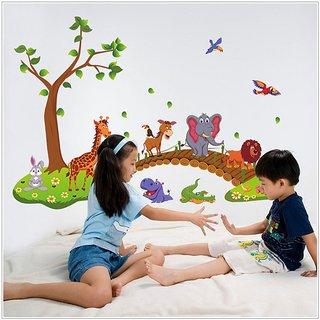 Jaamso Royals ' Hot style Big Jungle Animals Bridge ' Wall Sticker (PVC Vinyl 90 cm X 60 cm Decorative Stickers)