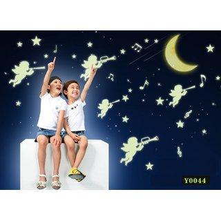 Jaamso Royals 'Radium Angels' Glow in Dark Wall Sticker (PVC Vinyl 21 cm X 29.7 cm Night Glow Stickers)