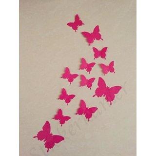 Jaamso Royals 'Dark Pink 3D Butterflies' Wall Sticker 1 Combo of 12 Piece (PVC Vinyl 13 cm x 15 cm  3D Stickers )