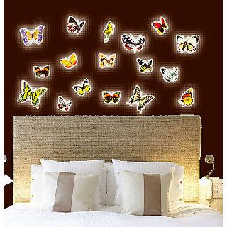 Jaamso Royals 'Radium Butterflies' Glow in Dark Wall Sticker (PVC Vinyl 21 cm X 29.7 cm Night Glow Stickers)