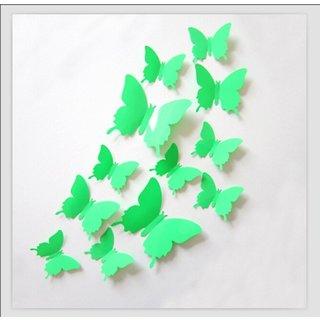 Jaamso Royals 'Green 3D Butterflies' Wall Sticker 1 Combo of 12 Piece (PVC Vinyl 13 cm x 15 cm  3D Stickers )