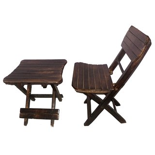 Desi Karigar Antique Childs Wooden Folding Table Chair Set