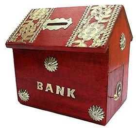 Desi Karigar Wooden Hut Shape Piggy Bank - Red
