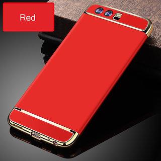 Kartik Luxury 3-in-1 Slim Fit 360 Protection Hybrid Hard Bumper Back Case Cover Huawei Honor P10 (Red  Golden)