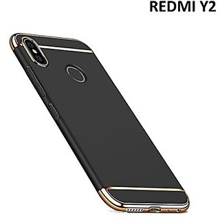Kartik Luxury 3-in-1 Slim Fit 360 Protection Hybrid Hard Bumper Back Case Cover Redmi Y2 (Black  Golden)