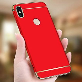 Kartik Luxury 3-in-1 Slim Fit 360 Protection Hybrid Hard Bumper Back Case Cover Redmi Y2 (Red  Golden)