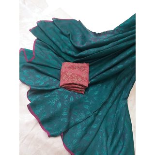 Jacquard Flower- Leaf Weaving Drapery Fabric Sarees with Contrast Border