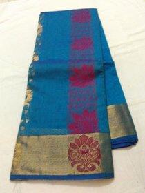 Blue Negamum Silk Cotton Saree Zari Border Chenderi New Saree Grand Pallu Border Uppada Saree