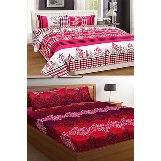 z decor polycotton double bed sheet, set of 2 with 4 pillow cover (maroon lahar,pnk.pooda)