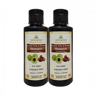 Khadi Pure Herbal Amla  Reetha Shampoo SLS-Paraben Free - 210ml (Set of 2)