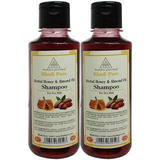 Khadi Pure Herbal Honey  Almond Oil Shampoo - 210ml (Set of 2)