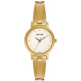 Sonata Analog White Dial Womens Watch - 8096YM04