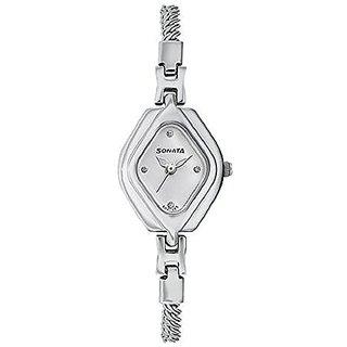 Sonata Analog White Dial Womens Watch-87010SM02