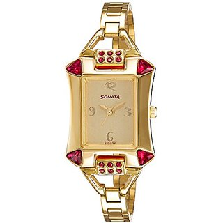 Sonata Gold Dial Womens Analog Watch - 8124YM01