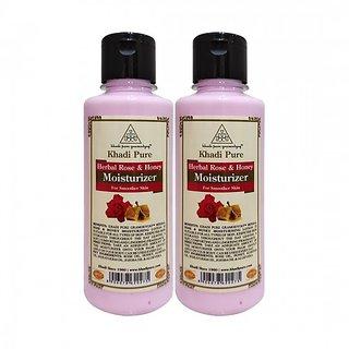 Khadi Pure Herbal Rose  Honey Moisturizer - 210ml (Set of 2)