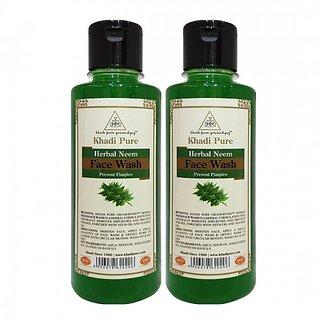 Khadi Pure Herbal Neem Face Wash - 210ml (Set of 2)
