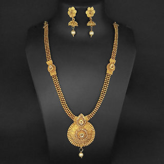 JewelMaze Gold Plated Brown Kundan Haram Necklace Set-1109843
