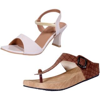 2eb1c4b27b7 Indistar Women's Footwear Combo Pack(Pack of 1 Women Sandal and 1 Women  Flats