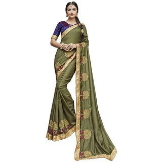 Aagaman Mehendi Green White Silk Party Wear Embroidered Saree