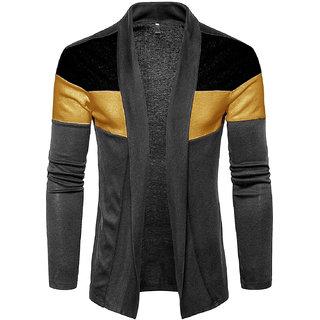 PAUSE Grey Cotton Blend Casual Men's Cardigan T-Shirt