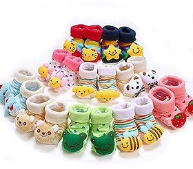 CUTE SOFT TOY SHOES UNIVERSAL Unisex Cartoon WINTER CARE Of 2 PairSocks Cum Shoe (Color  Design May Vary3 - 6 Months)