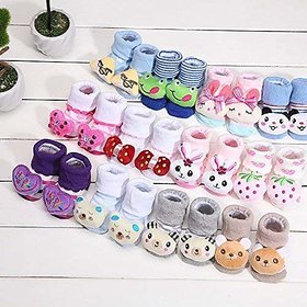 LITTLE CUTE  Super Soft   CARTOON Face Socks for Baby Girl and Boy (0-9) Months,Multicolor) Pack of 3 Pairs