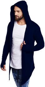 PAUSE NAVY Solid Cotton Hood Slim Fit Full Sleeve Men's Cardigan