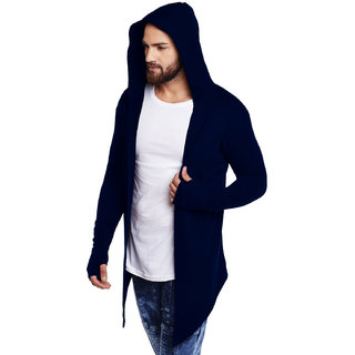 Pause Navy Hooded Cardigan T-Shirt For Men