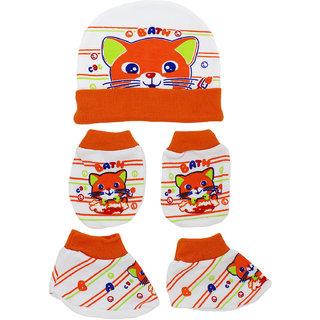 Neska Moda Baby Orange Mittens Booties with Cap Set 3 Pcs Combo 0 To 6 Months