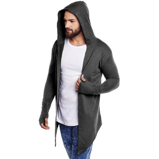 PAUSE CHARCOLE Solid Cotton Hood Slim Fit Full Sleeve Men's Cardigan T-Shirt