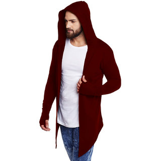 PAUSE MAROON Cotton Blend Hooded Slim Fit Full Sleeve Men's Cardigan T-Shirt