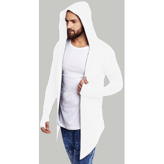 PAUSE WHITE Cotton Blend Hood Slim Fit Front Open Men's Cardigan T-Shirt